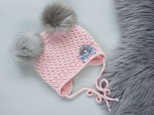 Heleroosa talvemüts beebidele meriinovillase voodriga